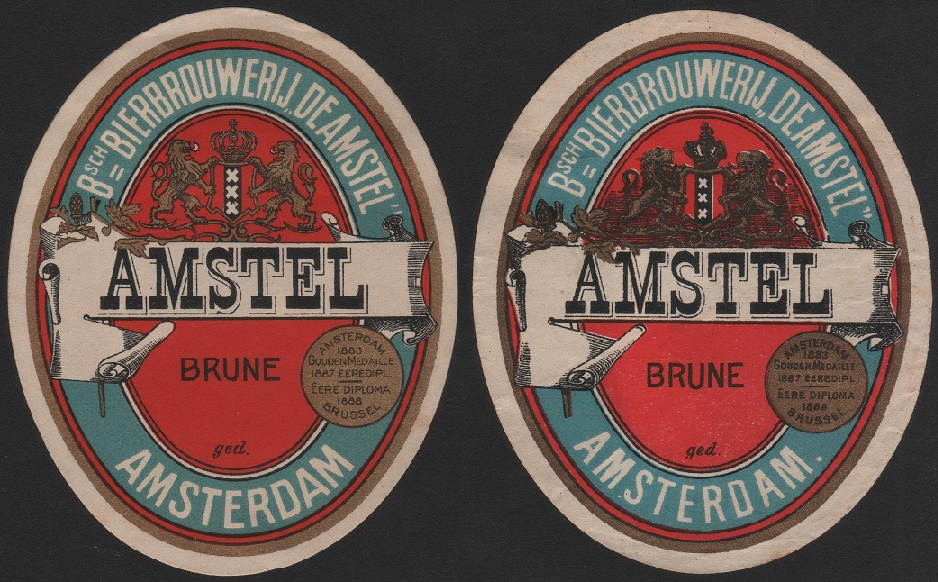Amstel Brune label, Brewery Amsterdan Holland